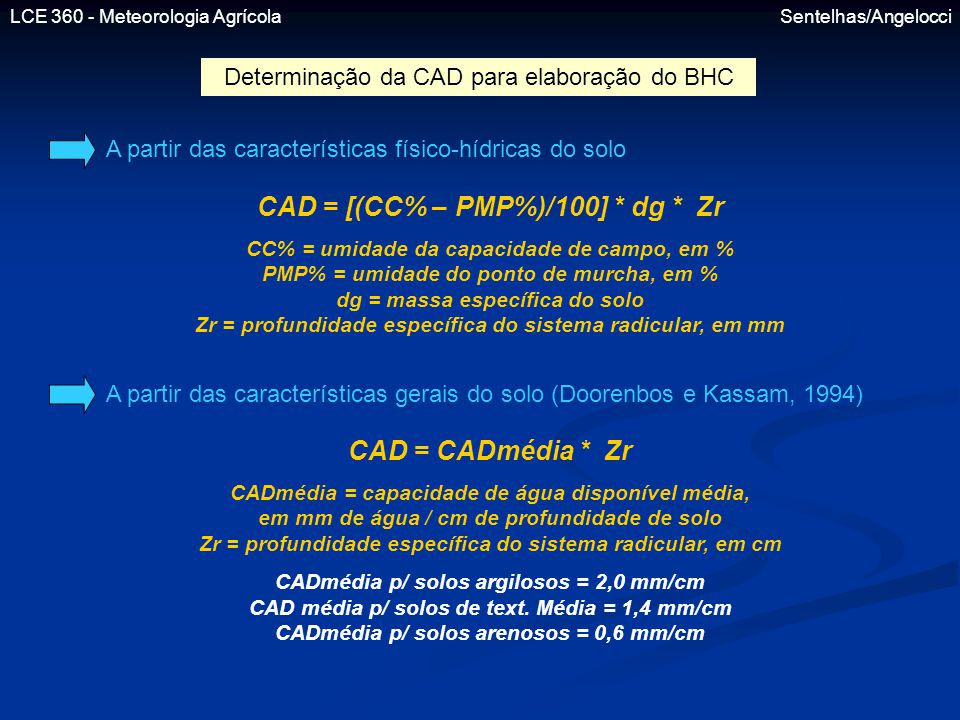 CAD = [(CC% – PMP%)/100] * dg * Zr